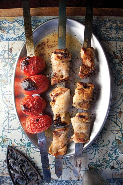 BBQ idea: spiced chicken and tomato kebabs.
