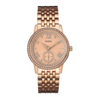 W0573L3 Γυναικείο ρολόι GUESS με μπρονζέ καντράν, κρύσταλλα εντός και εκτός του ρολογιού και ροζ χρυσό μπρασελέ | Ρολόγια Τσαλδάρης στο Χαλάνδρι #Guess #ροζ #ατσαλι #μπρασελε #ρολοι