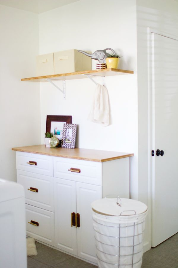 DIY laundry room cabinets and shelves