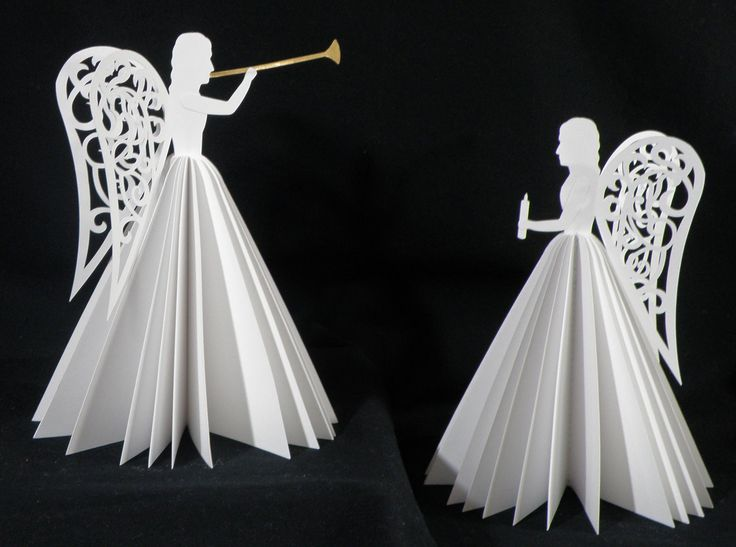 These angels are construced from light weight card stock. They were cut on my KNK Maxx and assembled using glue and a sewing machine. Gold vinyl was cut in the shape of the herald trumpet to add an accent. Each angel is 7″ tall and requires three sheets of 12″ x 12″ … … Continue reading →