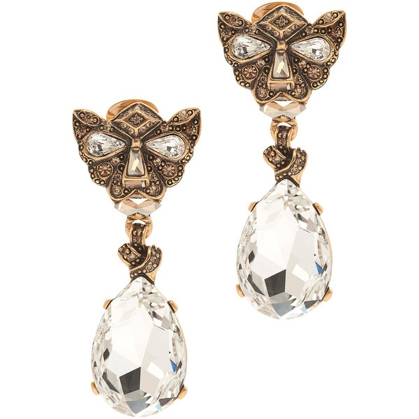 Oscar de la Renta Panther W/Crystal Earrings ($447) ❤ liked on Polyvore