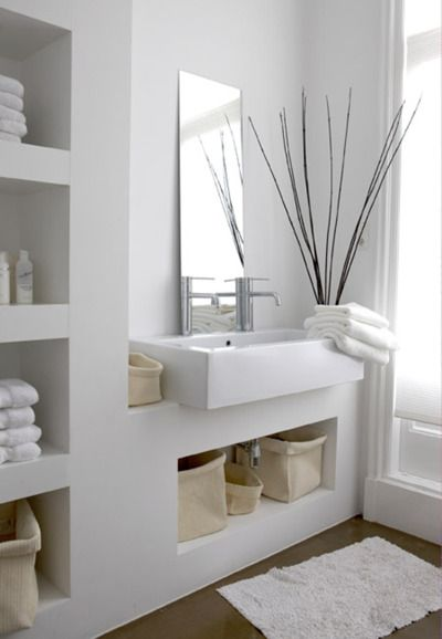 Shelving for guest bathroom http://architectureblog.tumblr.com/post/19703822325/micasaessucasa-a-white-family-home-the-style