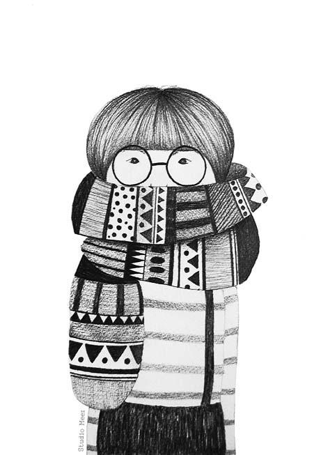 Studio Meez: Happy Illustrations, Winter Girls Illustrations, Scarfs Illustrations, Scarfs Drawings, Drawings Girls Cut, Illustrations Cute Girls, Happy Solez, Studios Meez, Winter Patterns Illustrations