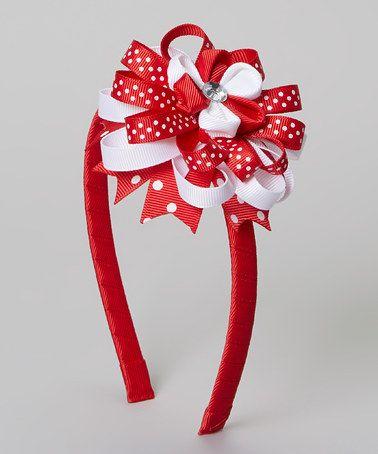 Red & White Flower Headband #zulily #zulilyfinds