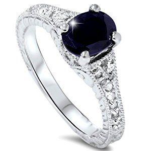 2ct Vintage Diamond Black Sapphire Engagement Ring 14K White Goldby Pompeii3 Inc.