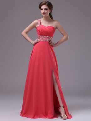 Pretty One Shoulder Watermelon Chiffon Crystal Detailing Split Front Prom Dress #DGD02014396