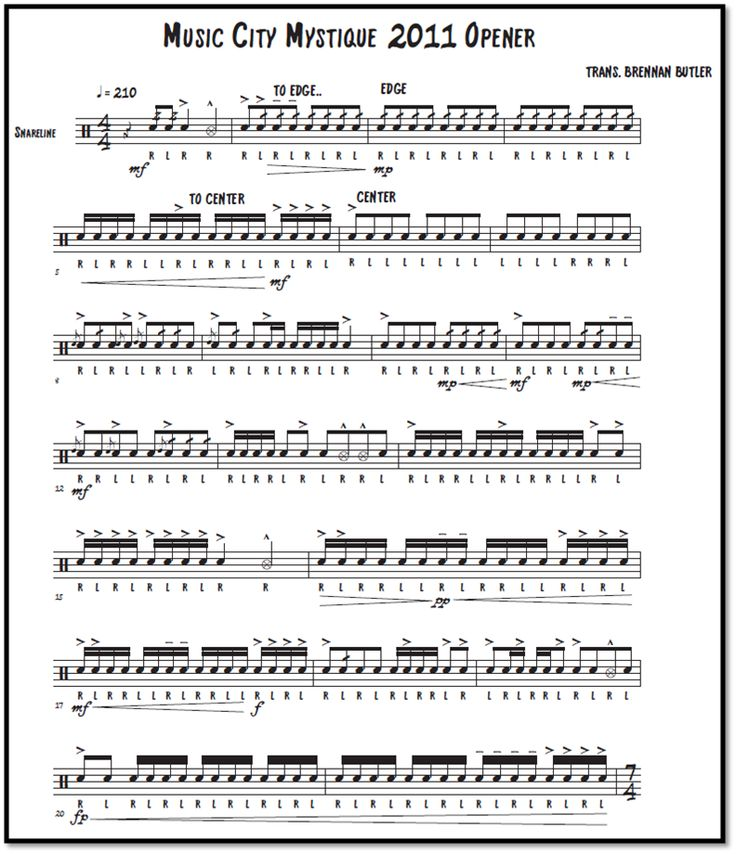 Marching Snare Drum Sheet Music