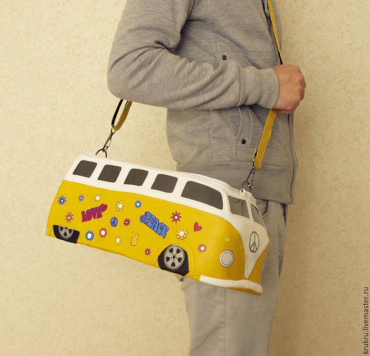 Купить Сумка Хиппи Автобус VolksWagen из желтой кожи - желтый, рисунок, хиппи, дети цветов