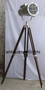 Collectible Nautical Aluminium Search Light Studio Photography Floor Search Lamp Size :- Full Open Ht:- 147cm., Close Ht- 102cm. Light Size- Front Dia:- 23.5cm., Front To Back:- 40cm.,  Back Dia:-14.5cm., Wide:- 29.5cm.,