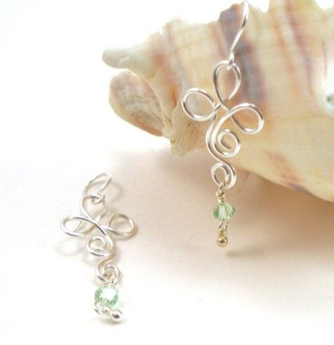 Handmade Earrings Silver Wire Wrapped Clover Shamrock Crystal Dangles