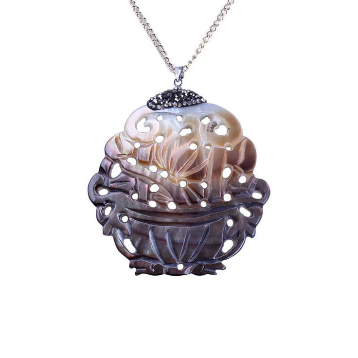 Mouse over image to zoom                                                  Details about  handmade hollow skeleton painting natural black white shell necklace for women