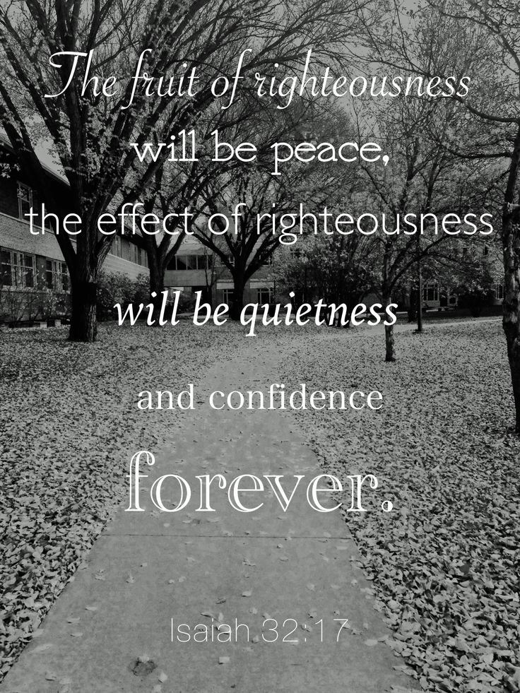 Isaiah 32:16-18 (ESV)  16 Then justice will dwell in the wilderness,     and righteousness abide in the fruitful field. 17 And the effect of righteousness will be peace,     and the result of righteousness, quietness and trust[a] forever. 18 My people will abide in a peaceful habitation,     in secure dwellings, and in quiet resting places.