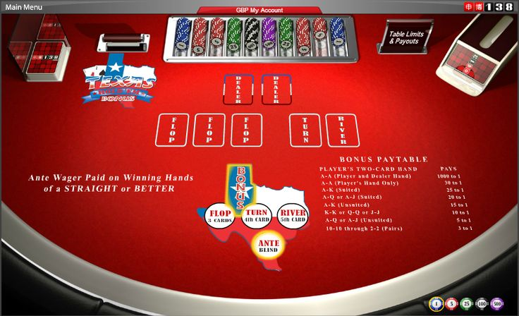 Texas Hold'em Bonus - A community card poker game. You can also make a separate bonus bet on the outcome of just your two hole cards. #online #casino #cards #games #poker #138.com