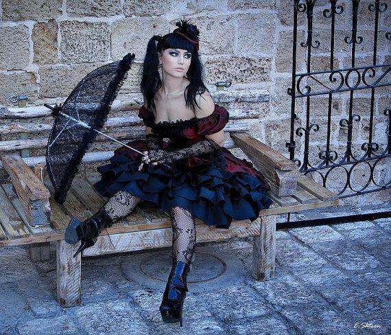 Gothic Lolita Prom Party Dress Punk Black by MineleeArtStudio