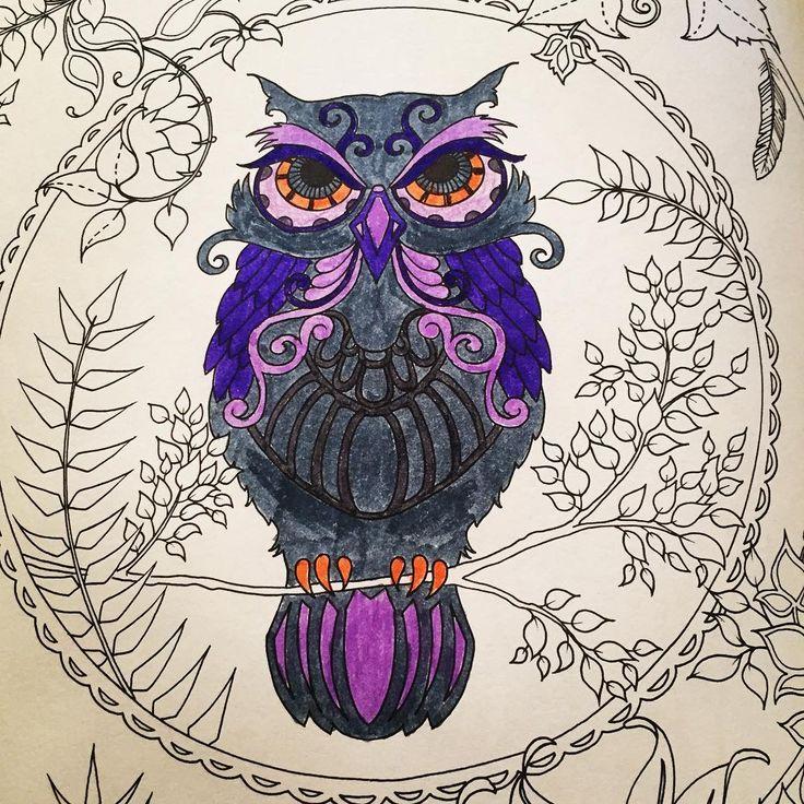 Benim güzel baykuşum 😍 #art #artoftheday #artwork #book #brightcolours #baykuş #color #coloring #draw #drawing #enchantedforest #gizemliorman #hobby #johannabasford #kitap #leaf #mor #gri #grey #owl #painting #relax #therapy #yaprak #purple