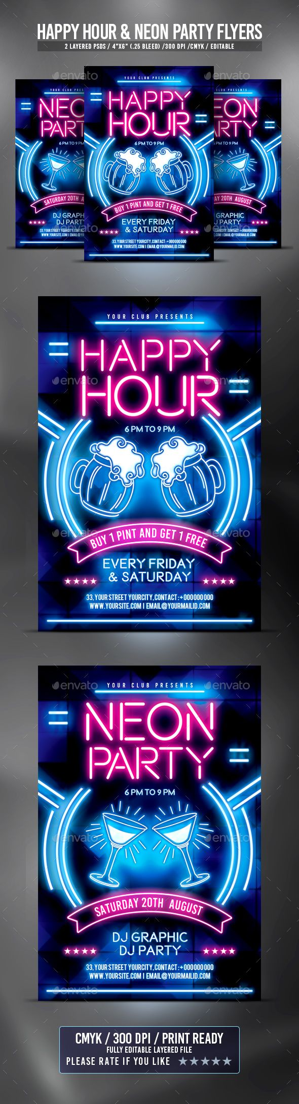 Happy Hour and Neon Party Flyers — PSD Template • Only available here! →…