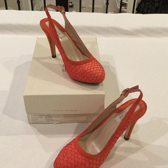 Reiss coral/orange suede faux snakeskin Reiss gorgeous color!!! Very sexy shoe Reiss Shoes Heels
