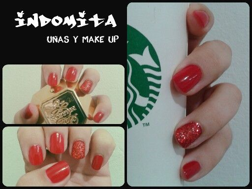 Uñas rojas con glitter / red nails with glitter