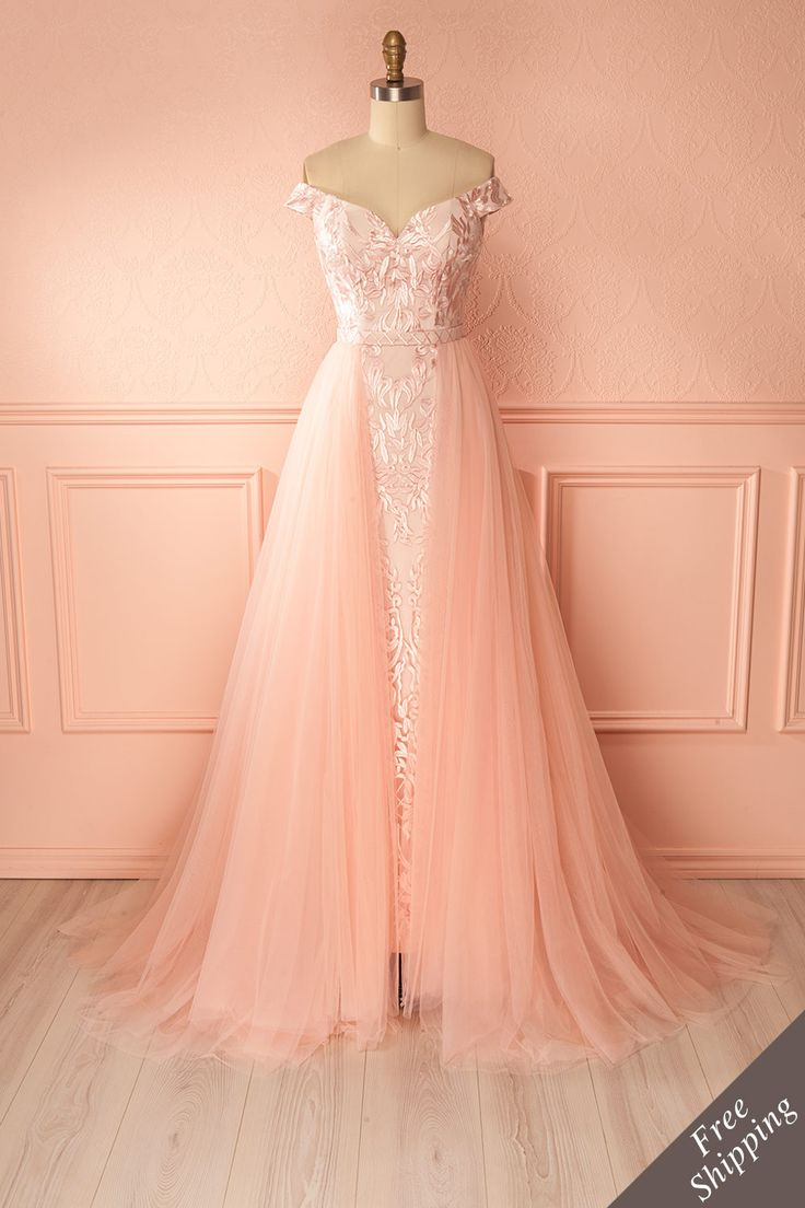 Pink mermaid gown with removable tulle skirt - Robe longue rose à coupe sirène avec jupe amovible en tulle