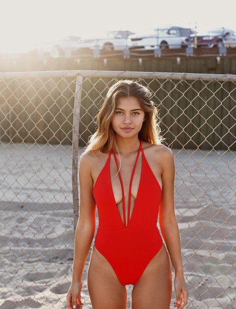 Swimwear: siempre golden red strappy plunge neckline one piece swimsuit red cut-out