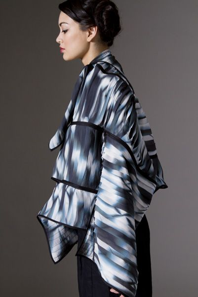 "Wearable Art and Jewelry, Amy Nguyen, Artist, ""Layered silk chiffon shibori kimono. Individually hand-cut strips are layered to create dimension with binding in silk shantung."""