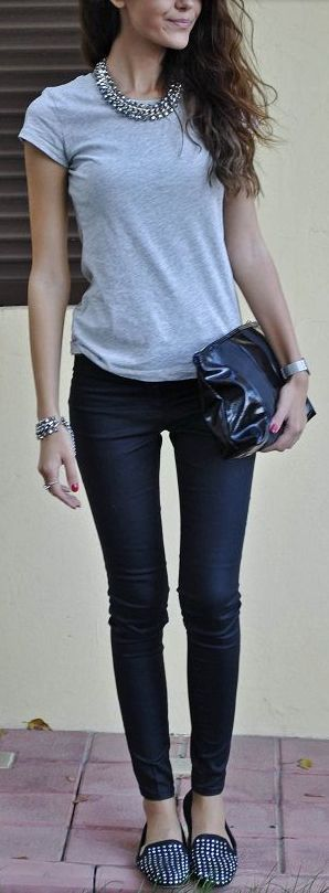 Grey tee + black skinnies + statement necklace.. more here http://artonsun.blogspot.com/2015/04/grey-tee-black-skinnies-statement.html