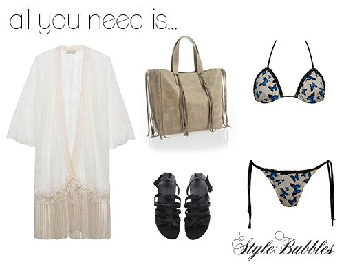 All you really need is a look that can get you from the beach to early drinks!  #StyleBubbles #fashion #beach #beachwear #sandals #bikini #summer