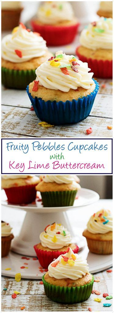 Fruity Pebbles Funfetti Cupcakes with Key Lime Buttercream are the perfect semi-homemade Springtime recipe. White cake meets buttercream frosting in the sweet dessert. via @berlyskitchen