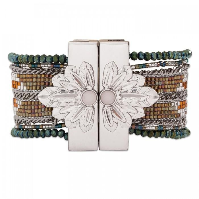 The Hipanema Eternity is a bohemian chic handmade bracelet with multiple rows covered with colorful beads weaved in chains. The Hipanema EternityKhaki features