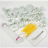 Cake Tools 14 sets (46pcs) Flower Fondant Cake Sugarcraft Decorating Kit Cookie Mould Icing Plunger Cutter Tool