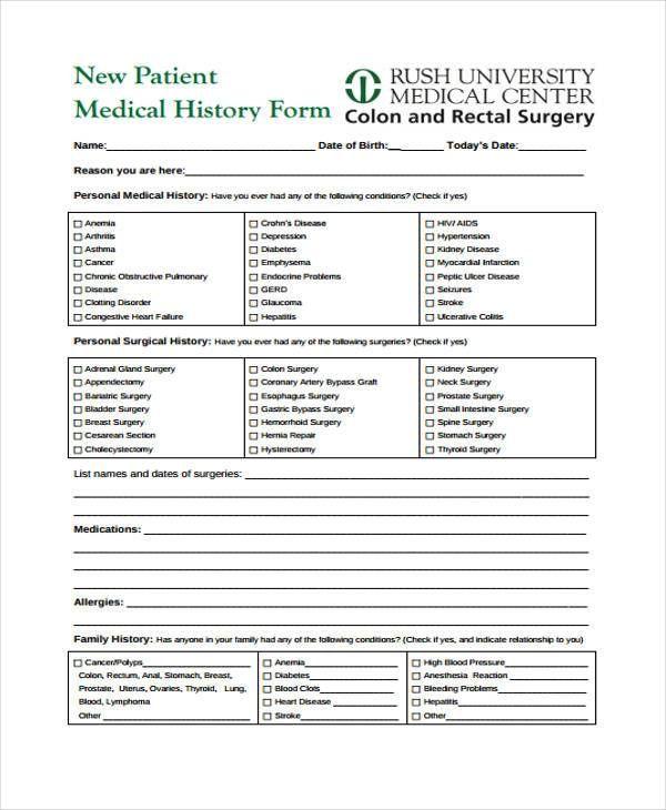 free printable medical forms template pinterest sample resume
