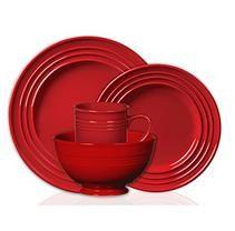 Colorsplash 16 pc. Stanza Stoneware Dinnerware Set - Red