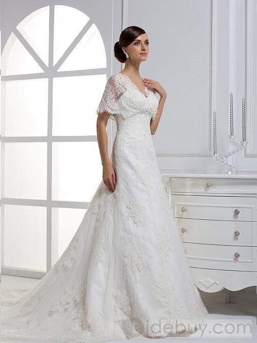 A-ライン/プリンセス半袖スイートハートロングフロアチャペルトレーンウェディングドレス