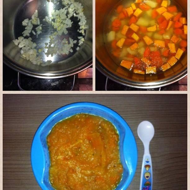 Papinha salgada (sem sal): Refogue cebola, alho e peito de frango. Adicione os demais ingredientes: abóbora, cenoura e batata picados em água filtrada até o cozimento. Amasse com garfo, espere esfriar e sirva!