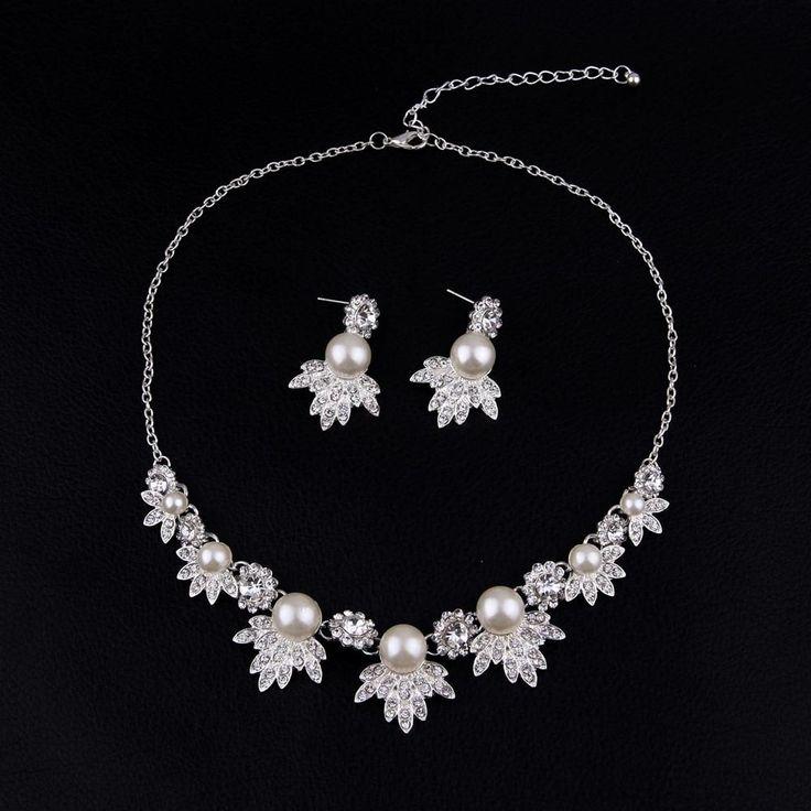 Bridal jewelry set - Floral Rhinestone Wedding Necklace Earrings Set Pearl