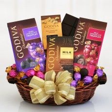 Godiva Sampler Chocolate Gift Basket. Gourmet Gift Basket from California Delicious. See more at: http://shareasale.com/r.cfm?b=666227&u=902724&m=12993&urllink=&afftrack= #Food Baskets #Gift Baskets #Gift Hampers