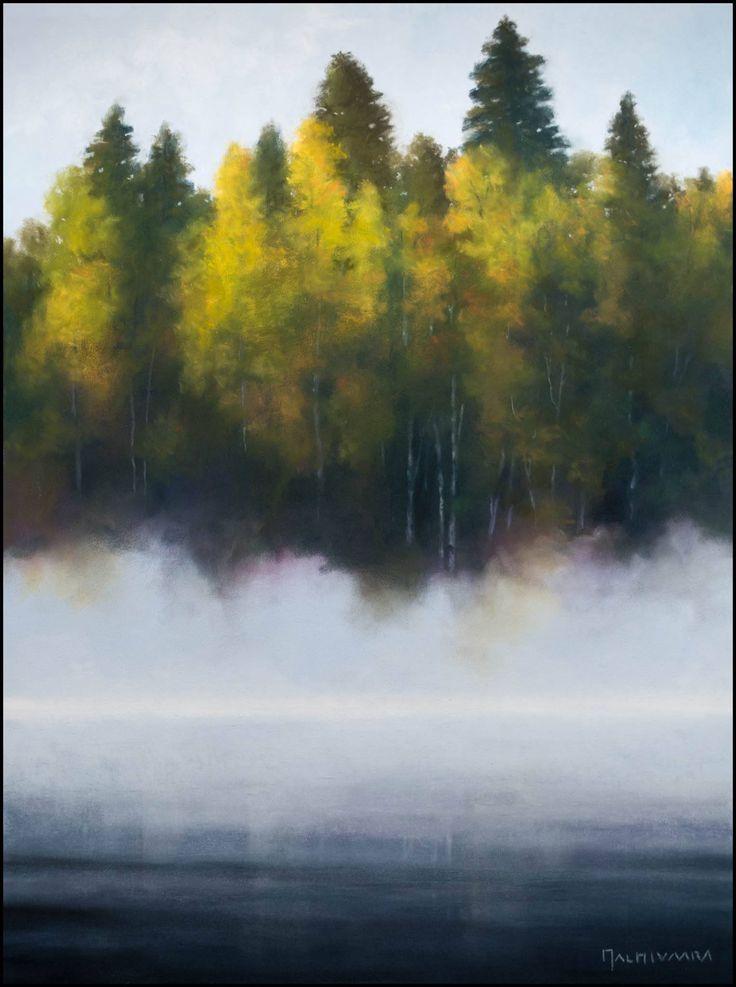 Misty Lake by Olli Malmivaara, PanPastel and soft pastel on Pastelmat, 40 x 30 cm