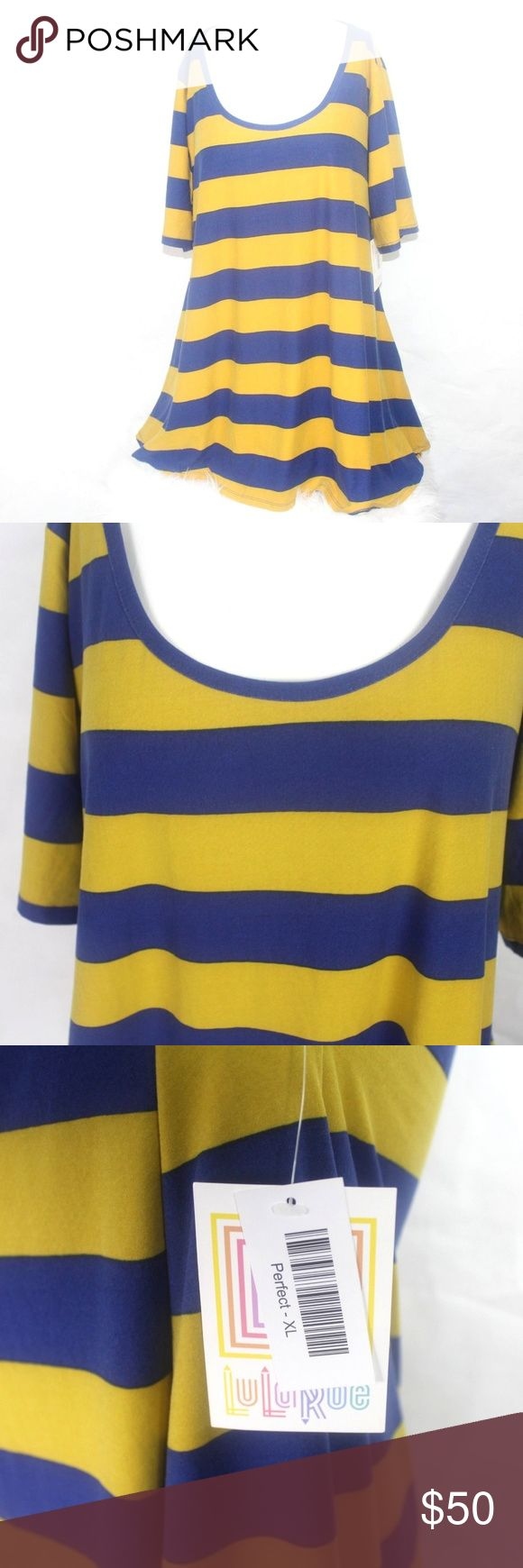 LuLaroe NWT Womens Perfect Wide Stripe Mustard Blu LuLaroe NWT Womens Perfect Wide Stripe Mustard Blue S/S Knit Tee Sz XL A Comfy 95% Polyester 5% Spandex Bust 23 Inches Sleeves 11 Inches Length 30 Inches LuLaRoe Tops Blouses