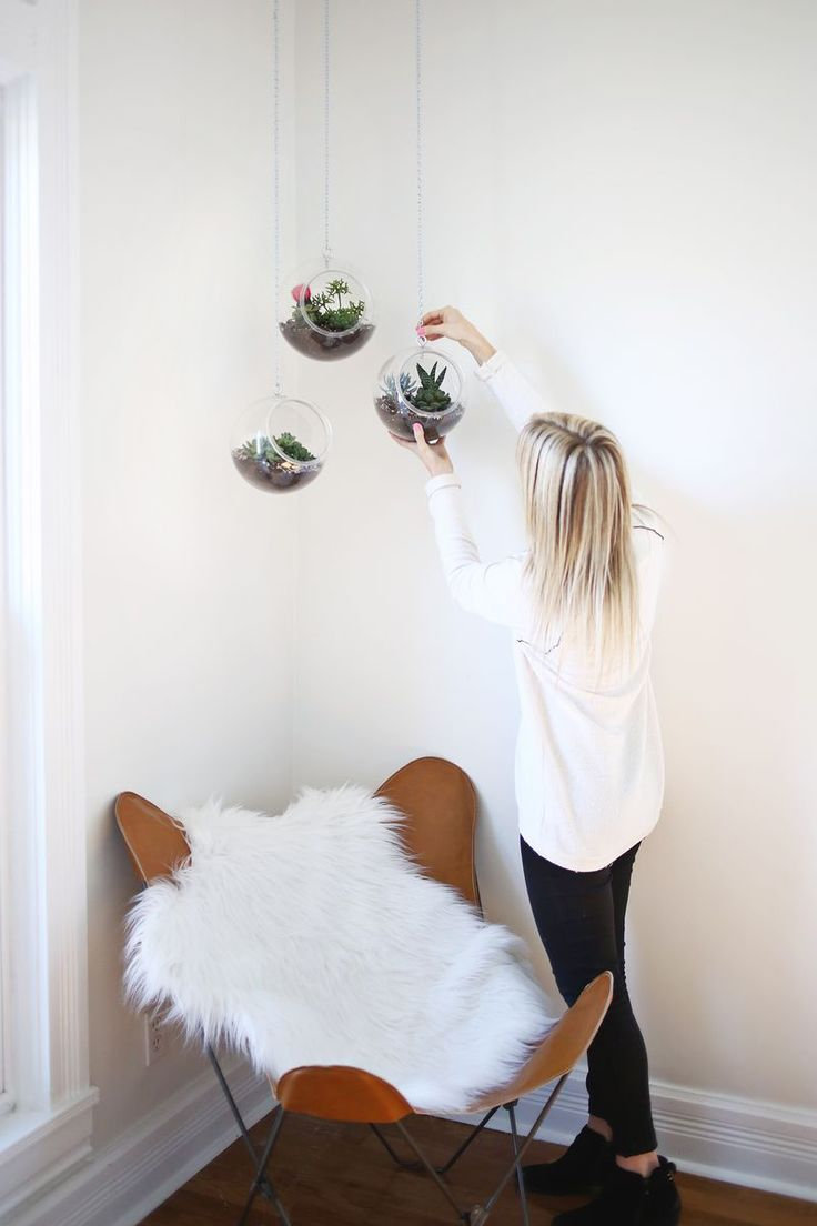 hanging planters made with plastic fish bowls