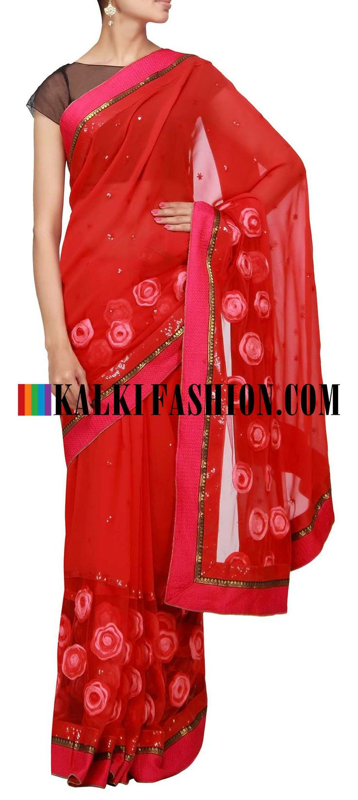 Buy Online from the link below. We ship worldwide (Free Shipping over US$100) http://www.kalkifashion.com/red-saree-enhanced-with-flower-embroidery.html Red saree enhanced with flower embroidery