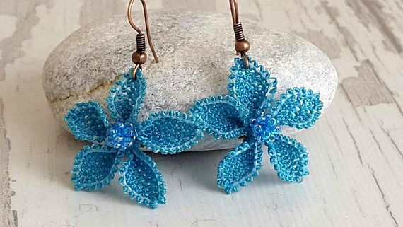 BLUE VALENTINE EARRINGS ,Turkish crochet earrings ,For Her Girlfriend Gift For Mom Holiday ,Gifts For Mom