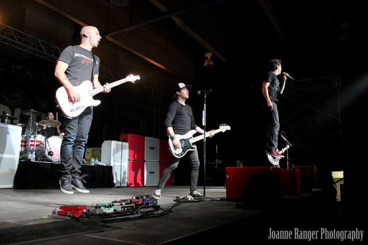 Simple Plan perorming at Kirkland Lake, Ontario in Ontario on June 27th, 2014.