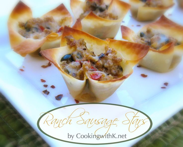 To serve a few guest you can make these Ranch Sausage Stars in a regular size muffin pans, or to serve them as an appetizer like I did, or you can make them in mini muffin pans.  They hold up well to take somewhere as well as easy to heat up just before you serve them. - www.cookingwithk.net