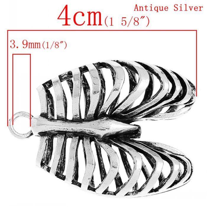 Retail Charm Pendants Anatomical Human Rib Cage Antique Silver 4cm x 3cm 3PCs. Click visit to buy