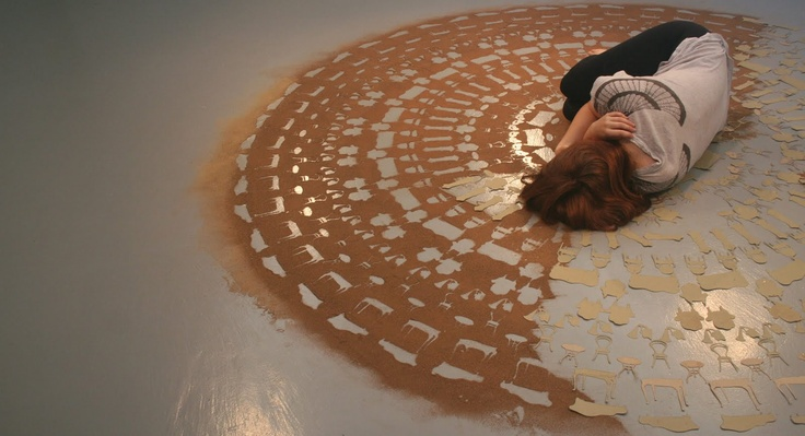 unfilled by ruth feeney- stencilling with tea leaves