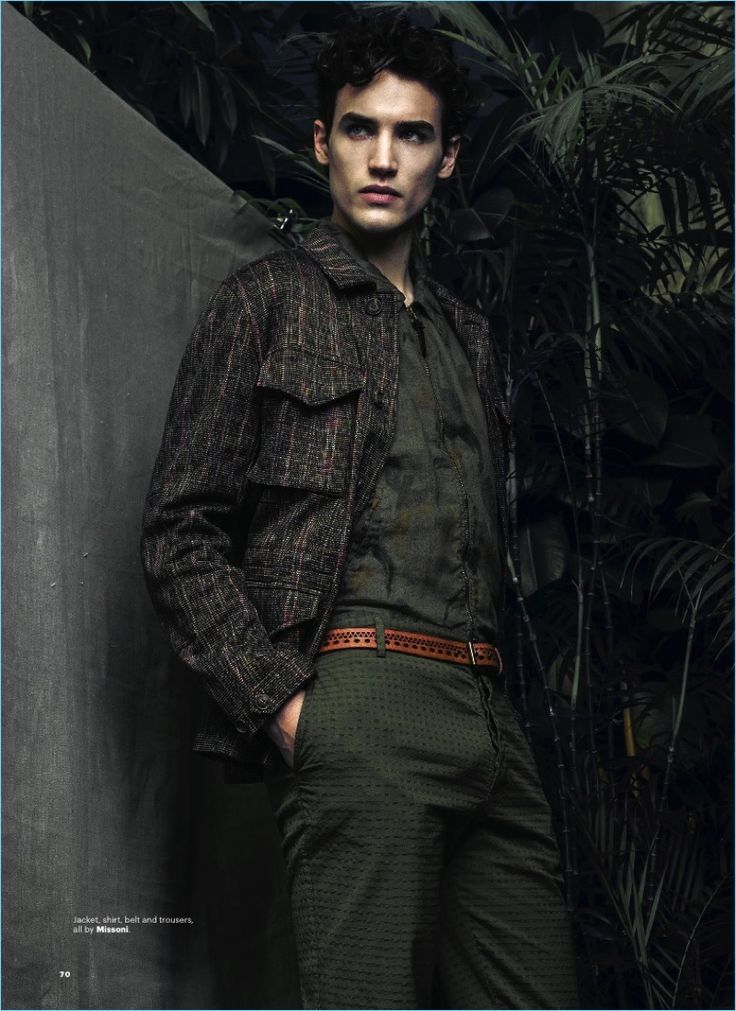 Federico Novello sports a shirt, jacket, belt, and trousers by Missoni.