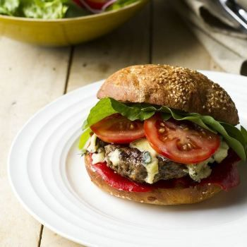 Venison, Blue Cheese and Roast Red Pepper Burgers