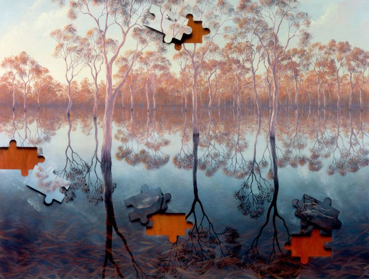 Australian painter / sculptor, Lin Onus (1948-1996), whose birth straddled Scottish & Australian aboriginal heritage, instilling in his work a unique crossover of style & symbolism. Images from varous sources.   Decanted