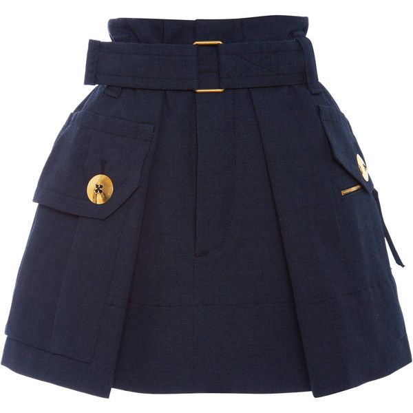 Marc Jacobs Black Melange Suiting Two Pocket Skirt featuring polyvore, women's fashion, clothing, skirts, pocket skirt, marc jacobs, military skirt and marc jacobs skirt