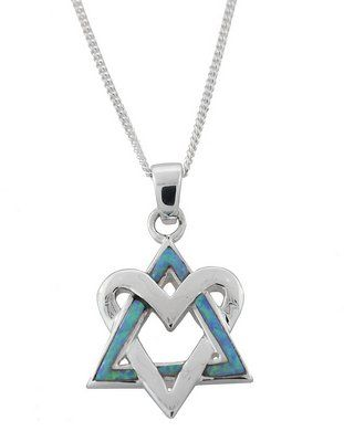 Silver Heart and Opalite Interlocked Star of David Necklace , Jewish & Israeli Jewelry | Judaica Web Store
